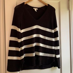 Forever21 V-Neck Knit Striped Sweater, Black/White